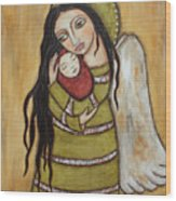 Mother And Child Wood Print by Rain Ririn
