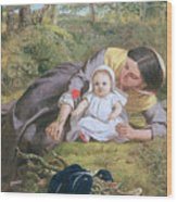 Mother And Child With A Poppy Wood Print