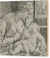 Mother And Child With Skull And Hourglass Wood Print