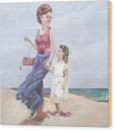 Mother and Daughter at the  Beach Wood Print