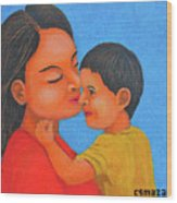 Mother And Son Wood Print