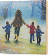 Mother And Three Sons  Wood Print