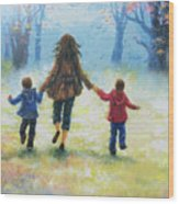Mother And Two Sons Out For A Walk Wood Print