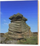 Mother Cap Gritstone Rock Formation, Millstone Edge Wood Print