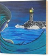 In The Glow Of The Lighthouse  Wood Print