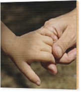 Mother Holding Baby Daughter's Hand Wood Print by Sami Sarkis