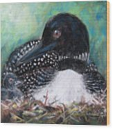 Mother Nature And The Loon Wood Print