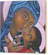 Mother Of God And Child Wood Print