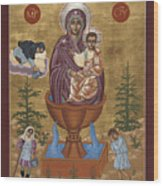 Mother Of God Life Giving Spring With Mother Macaria Of Russia And Blessed Margaret Of Castello 179 Wood Print