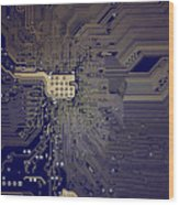 Motherboard Architecture Blue Wood Print