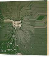 Motherboard Architecture Green Wood Print