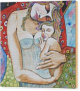 Motherhood - Tribute To Klimt Wood Print