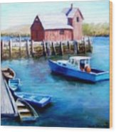 Motif One Rockport Harbor Wood Print by Jack Skinner