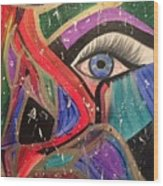 Motley Eye Wood Print