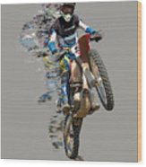 Motocross Rider With Flying Pieces Wood Print