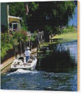 Motor Boat On Canal Wood Print