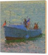 Motor Yacht At Spruce Point Boothbay Harbor Maine Wood Print