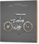 Motorcycle Patent 1918 Wood Print