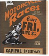 Motorcycle Speedway Races Wood Print
