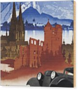 Motoring In Germany - Retro Travel Poster - Vintage Poster Wood Print