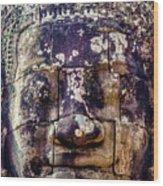 Mould Damage At Angkor Thom Wood Print