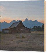 Moulton Ranch Sunset On Mormon Row Wood Print