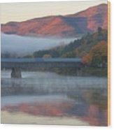 Mount Ascutney And Windsor Cornish Bridge Sunrise Fog Wood Print by John Burk