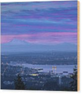 Mount Baker And Vancouver Bc At Dawn Wood Print
