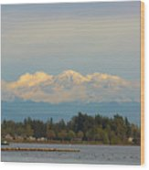 Mount Baker From Semiahmoo Bay In Washington Wood Print