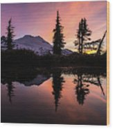 Mount Baker Sunrise Reflection Wood Print