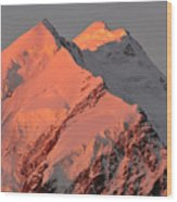 Mount Cook Range On South Island In New Zealand Wood Print