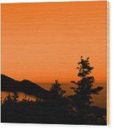 Mount Craig Above Sunset Wood Print