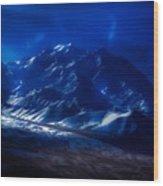 Mount Denali Moonlight Alaska Wood Print