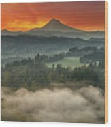 Mount Hood And Sandy River Valley Sunrise Wood Print