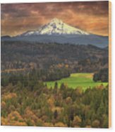 Mount Hood At Sandy River Valley In Fall Wood Print