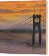 Mount Hood By St Johns Bridge During Sunrise Wood Print