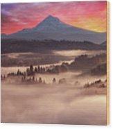 Mount Hood Foggy Sunrise Wood Print