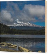 Mount Hood From Across Lake Trillium Wood Print