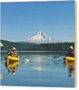 Mount Hood Kayakers Wood Print