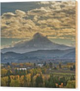 Mount Hood Over Farmland In Hood River In Fall Wood Print