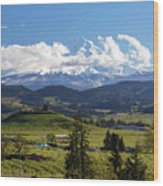 Mount Hood Over Fruit Orchards In Hood River Wood Print