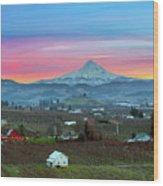 Mount Hood Over Hood River At Sunset Wood Print