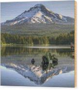 Mount Hood Reflection On Trillium Lake Wood Print