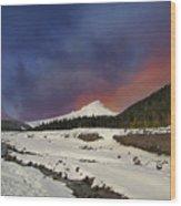 Mount Hood Winter Wonderland Wood Print