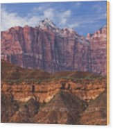 Mount Kinesava In Zion National Park Wood Print