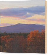 Mount Monadnock Autumn Sunset Wood Print