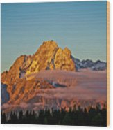 Mount Moran Bathed In Sun Wood Print