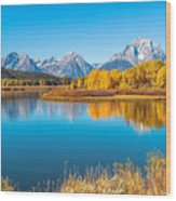 Mount Moran From The Snake River In Autumn Wood Print