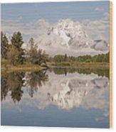 Mount Moran On Oxbow Bend Panorama Wood Print
