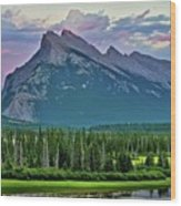 Mount Norquay At Dusk Wood Print
